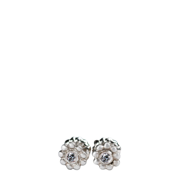 Children's Sterling Silver Tiny Java Flower Stud Earrings with Diamonds