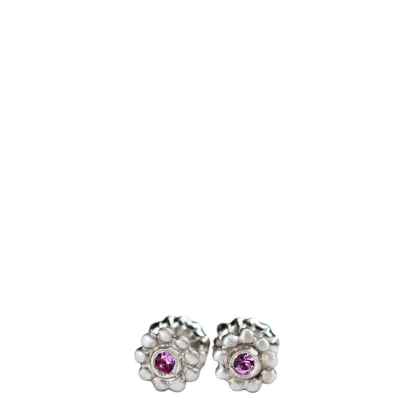 Children's Sterling Silver Tiny Java Flower Stud Earrings with Pink Sapphires