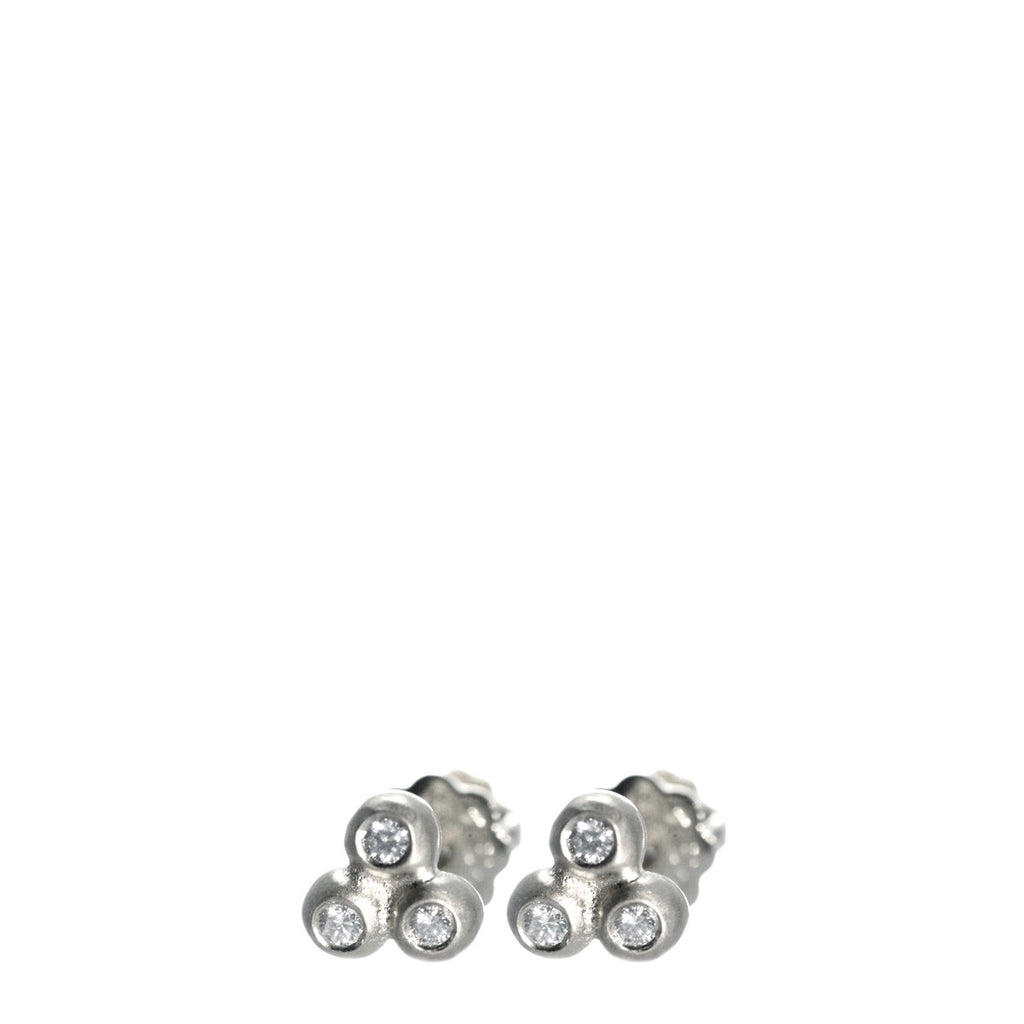Children's Sterling Silver Tiny 3 Ball Stud Earrings with Diamonds