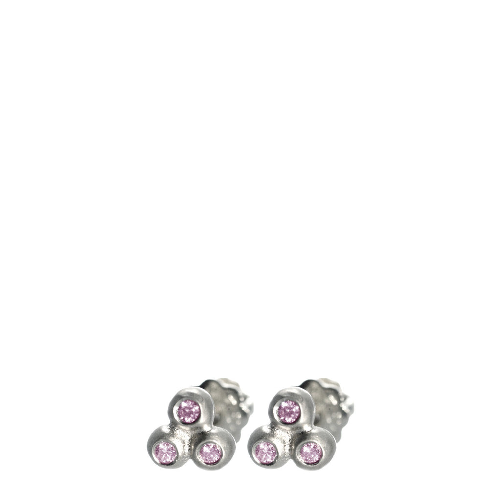 Children's Sterling Silver Tiny 3 Ball Stud Earrings with Pink Sapphires