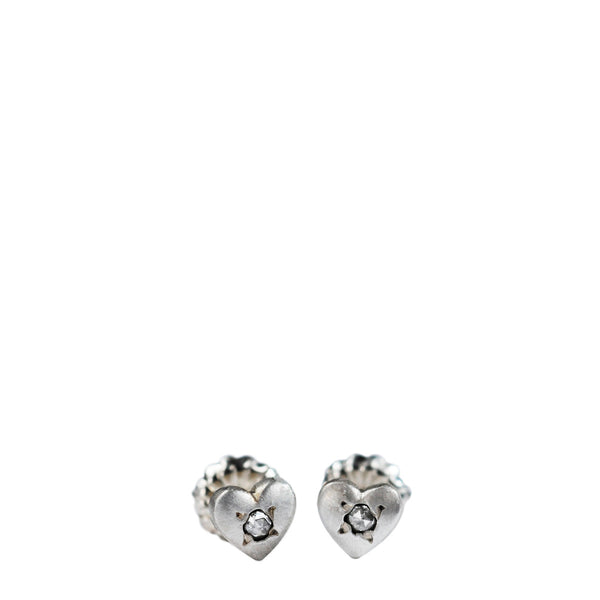 Children's Sterling Silver Heart Stud Earrings with Diamonds