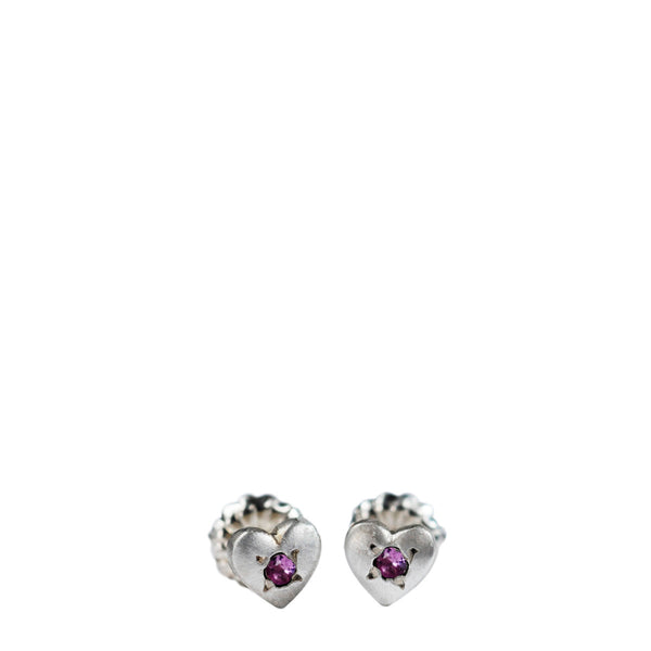 Children's Sterling Silver Heart Stud Earrings with Pink Sapphires