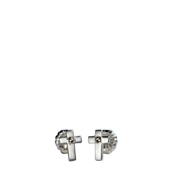 Children's Sterling Silver Cross Stud Earrings with Diamonds