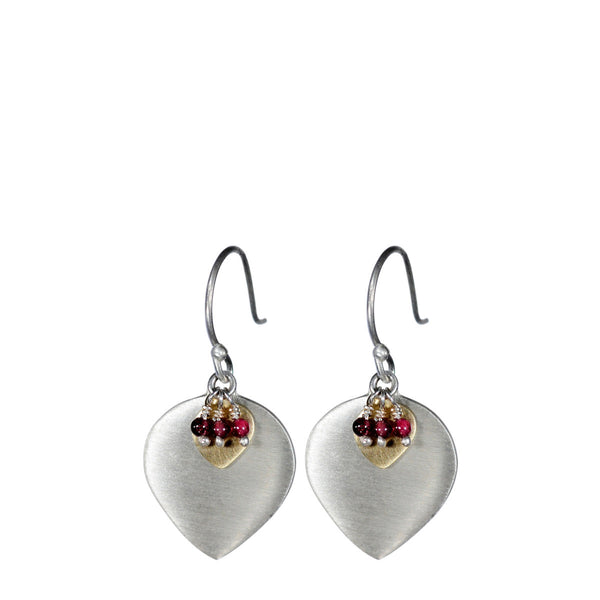 Sterling Silver & 10K Gold Lotus Earring with Garnet