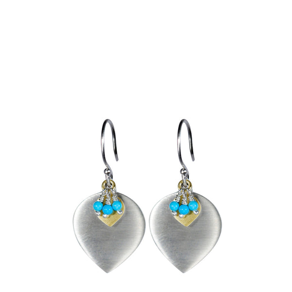 Sterling Silver & 10K Gold Lotus Earring with Turquoise