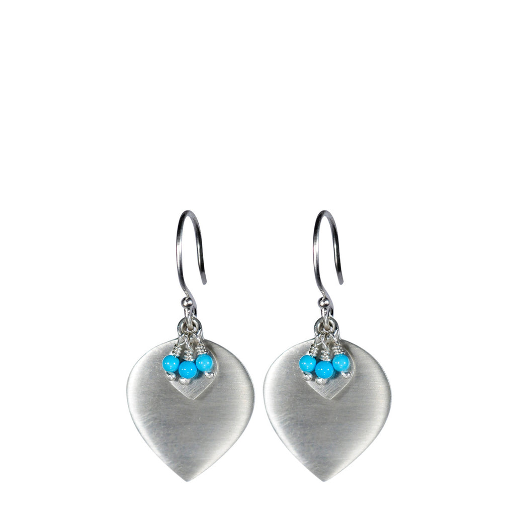 Sterling Silver Lotus Earring with Turquoise