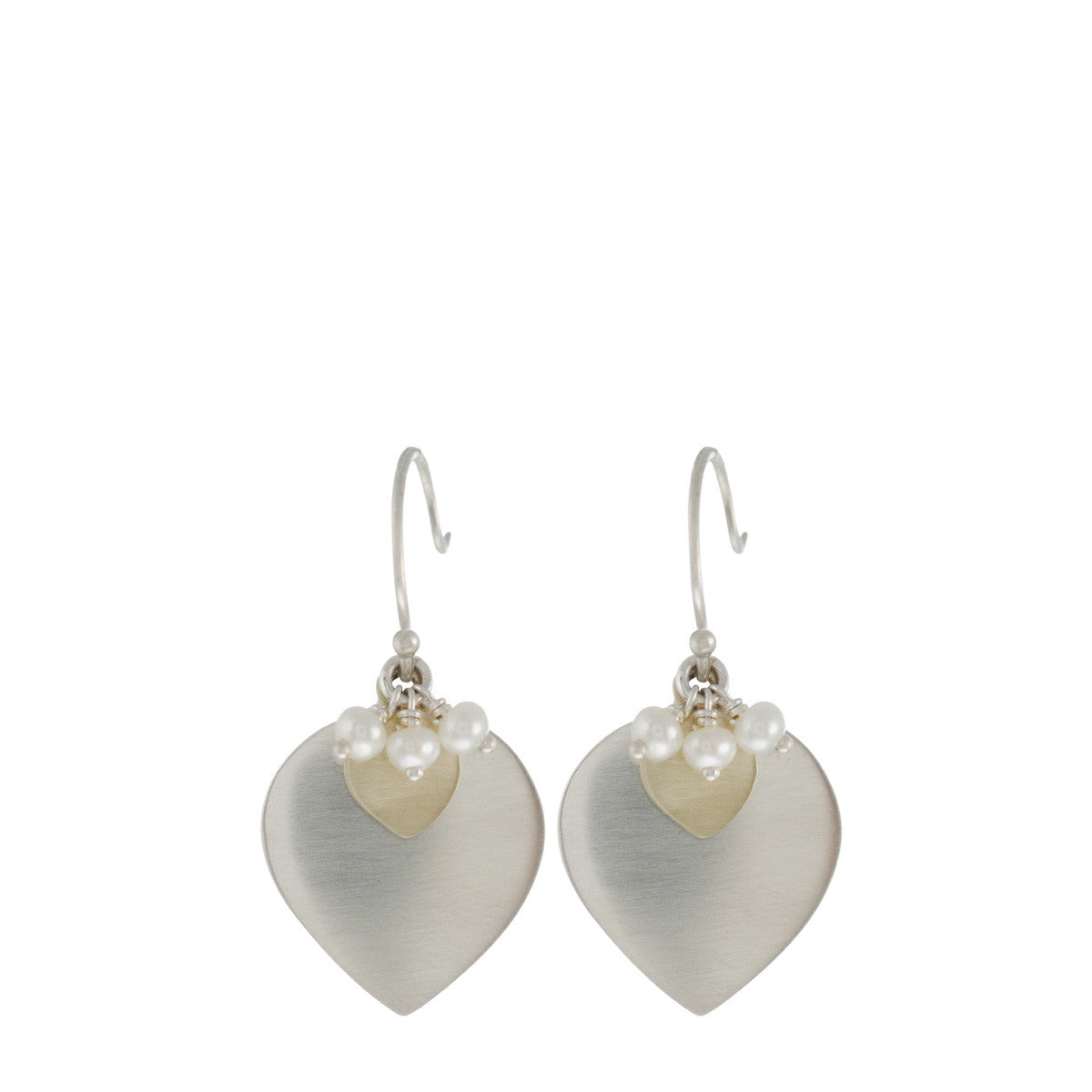 Sterling Silver & 10K Gold Lotus Earring with Pearl