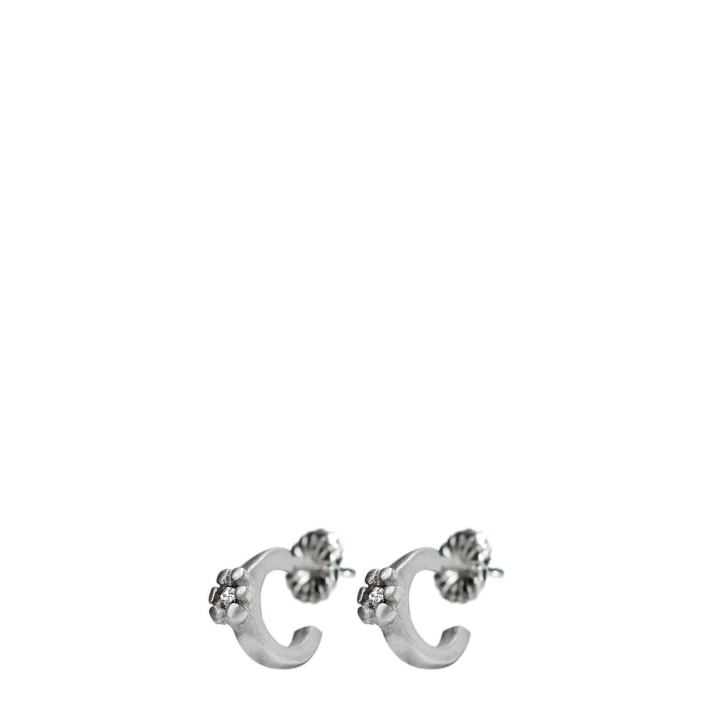 Children's Sterling Silver Single Flower Hoop Earrings with Diamonds