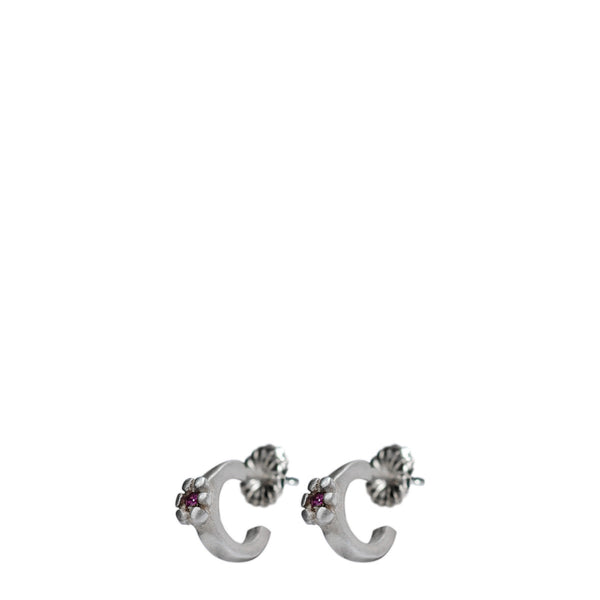 Children's Sterling Silver Single Flower Hoop Earrings with Pink Sapphires