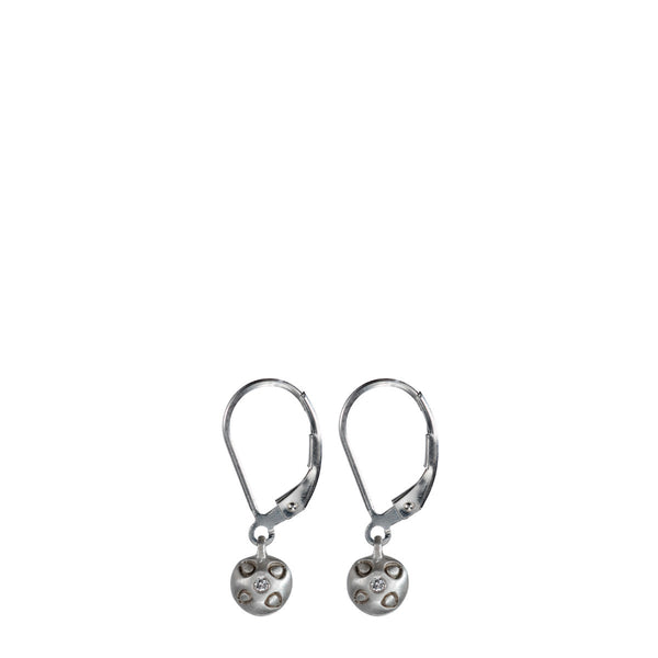 Children's Sterling Silver Tiny Bell Earrings with Diamonds