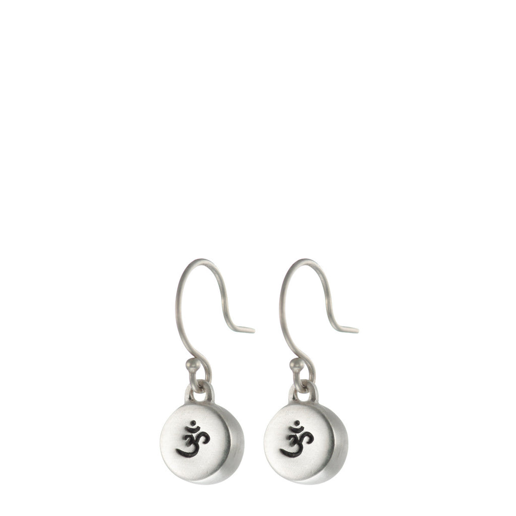 Sterling Silver 'Om' Drum Earrings