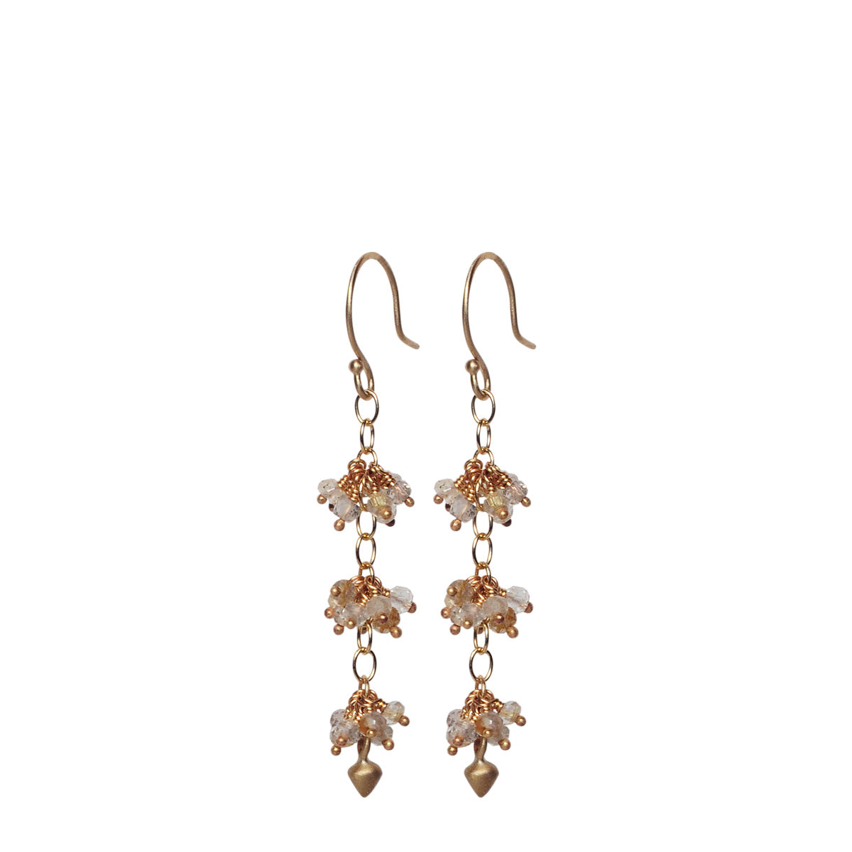 10K Gold 3 Bead Cluster Rutilated Quartz Earring with Lotus Buds