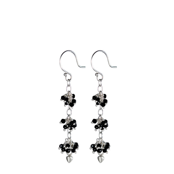 Sterling Silver 3 Bead Cluster Black Spinel Earring with Lotus Buds