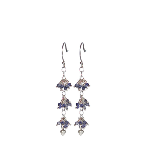 Sterling Silver 3 Beaded Cluster Iolite Earrings with Lotus Buds
