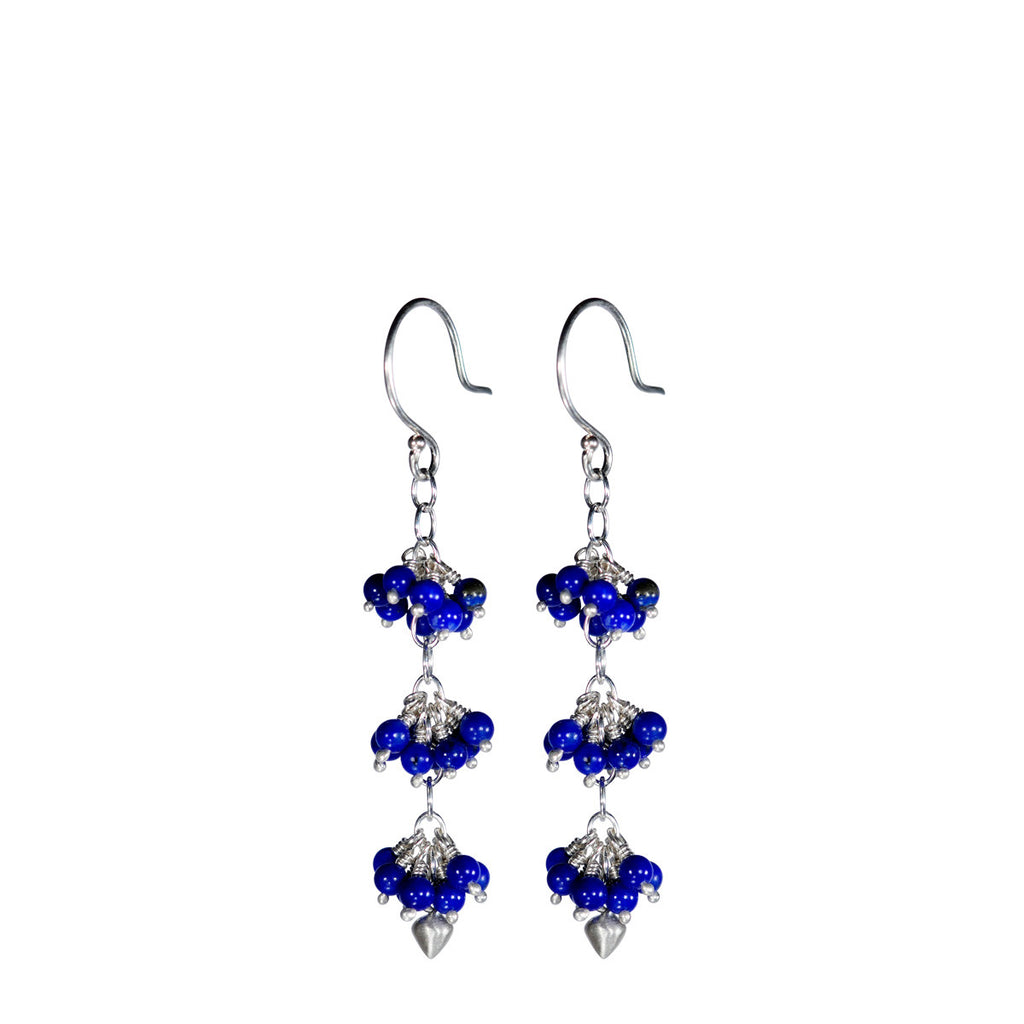 Sterling Silver 3 Beaded Cluster Lapis with Lotus Bud Earring