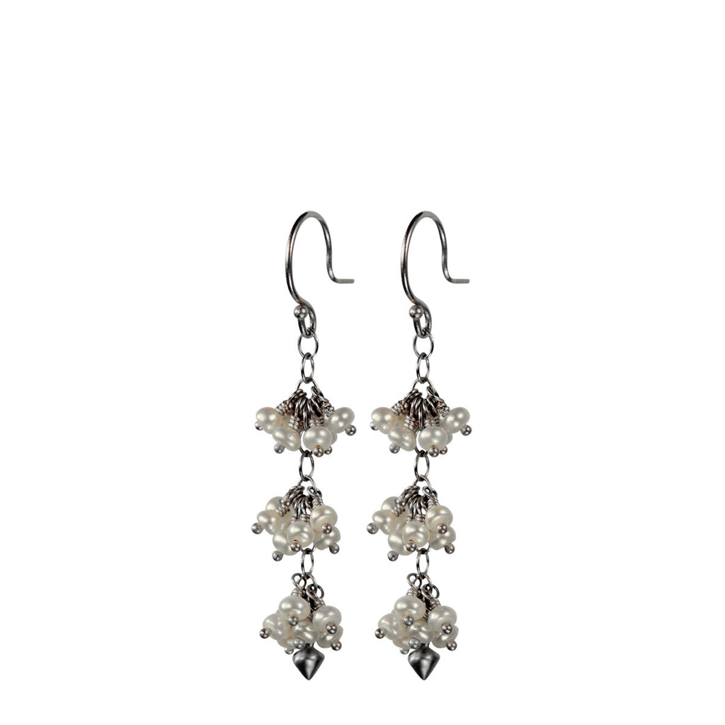 Sterling Silver 3 Beaded Cluster Pearl with Lotus Bud Earring