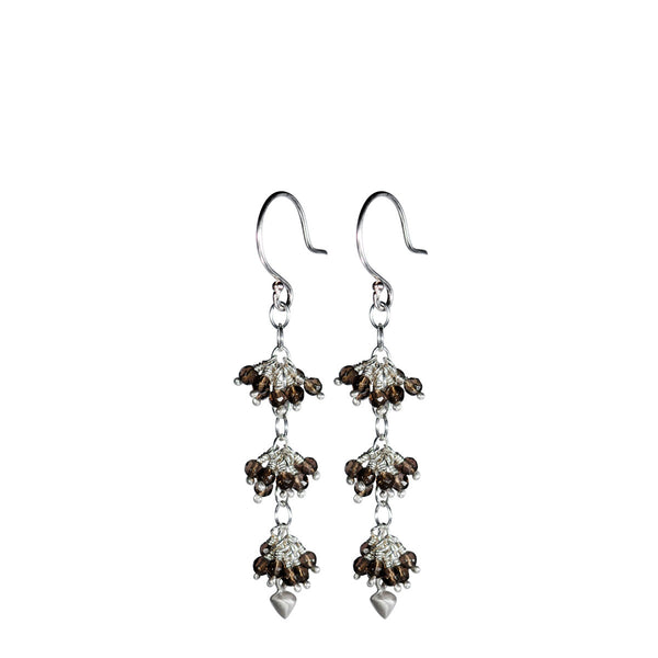 Sterling Silver 3 Beaded Smokey Quartz Cluster with Lotus Bud Earring