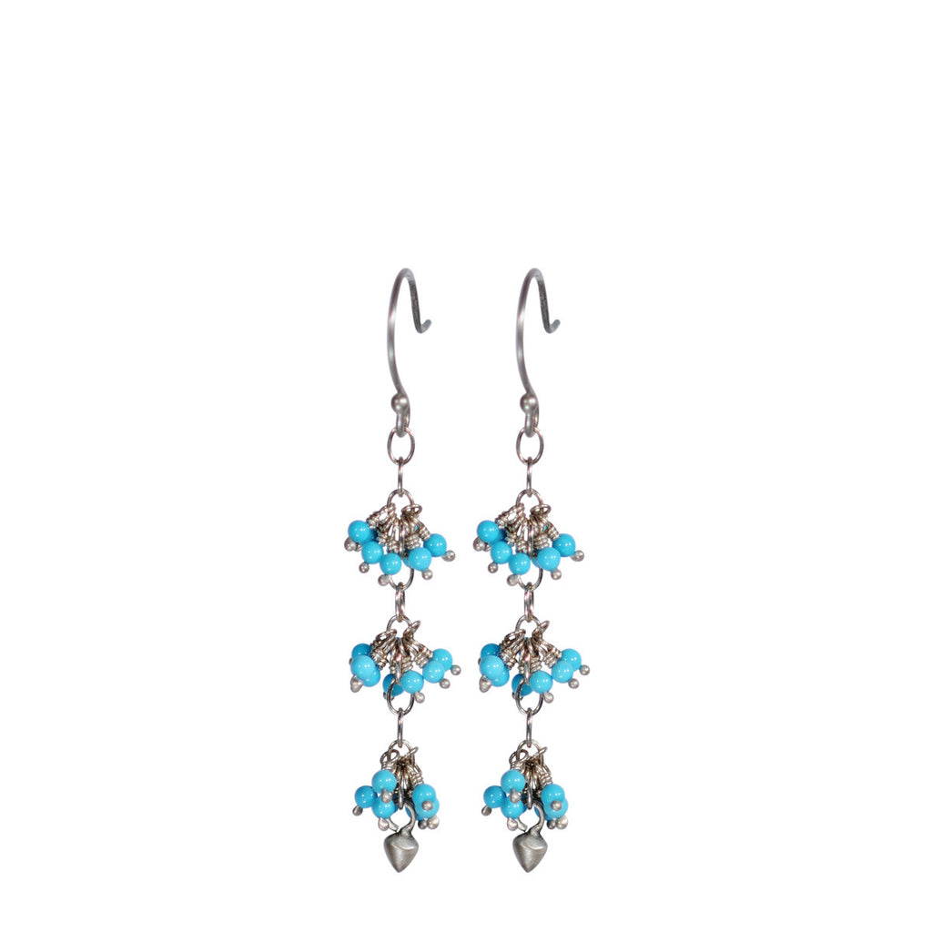 Sterling Silver 3 Beaded Cluster Turquoise with Lotus Bud Earring
