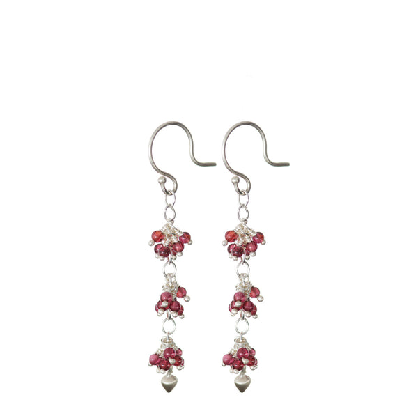 Sterling Silver 3 Beaded Cluster Garnet with Lotus Bud Earring
