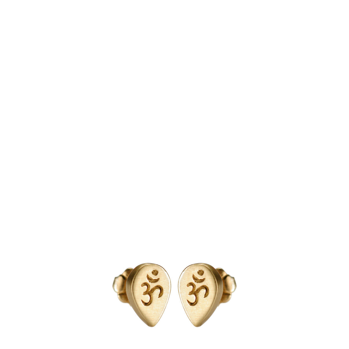 10K Gold Teardrop Om Stud Earrings