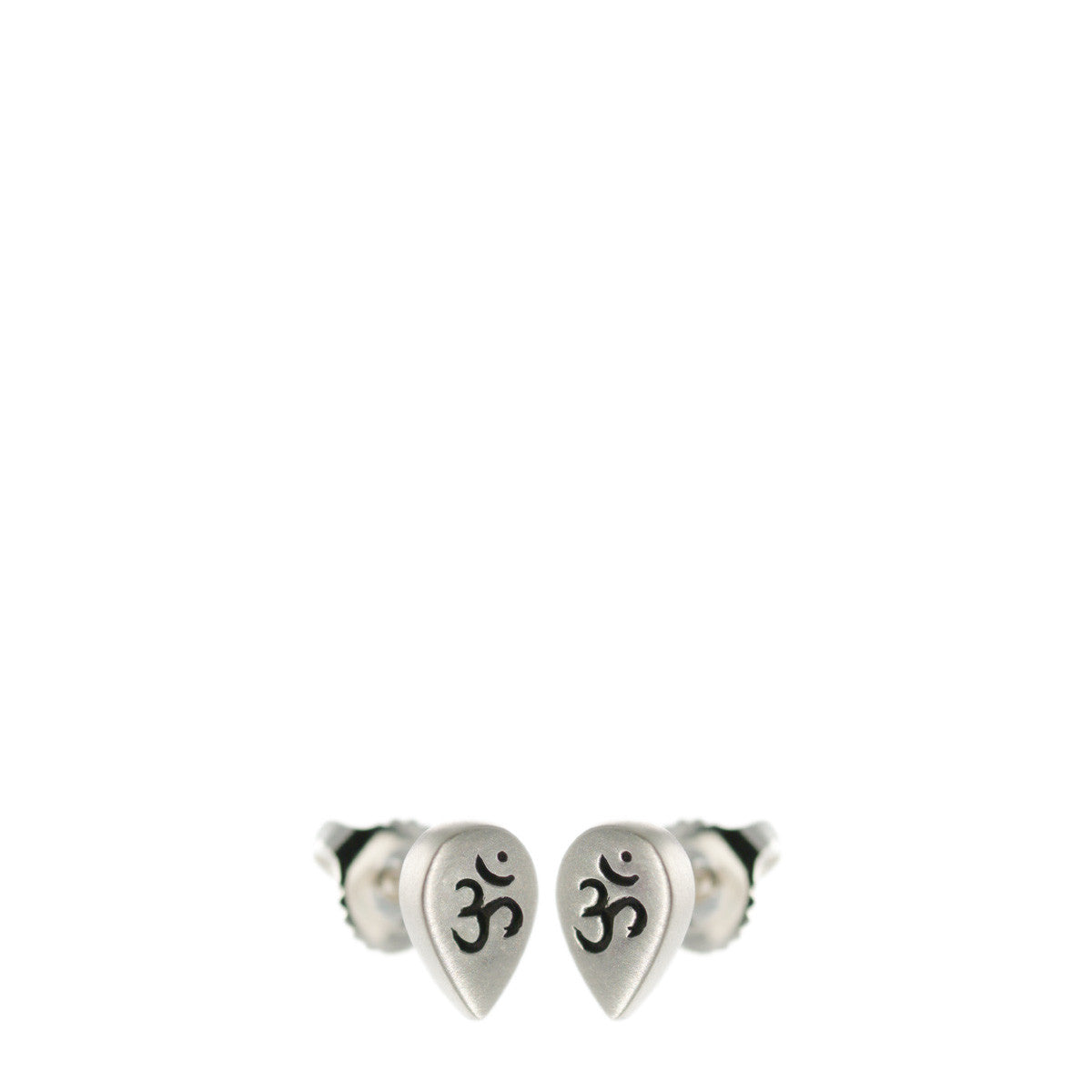 "Sterling Silver Teardrop ""Om"" Stud Earrings"