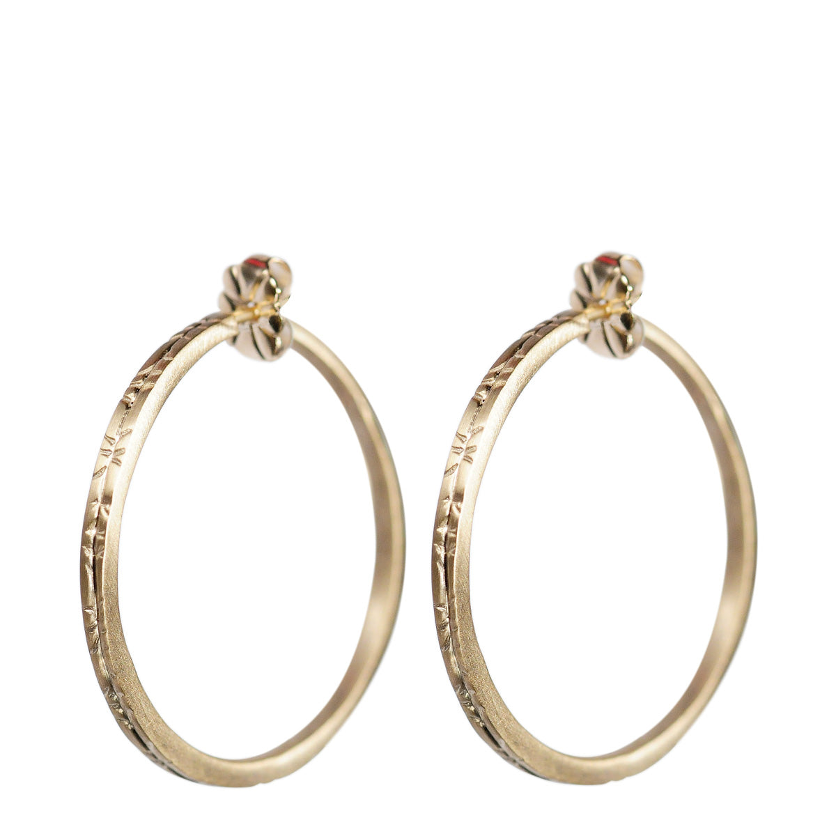 10K Gold Medium Engraved Hoop Earrings