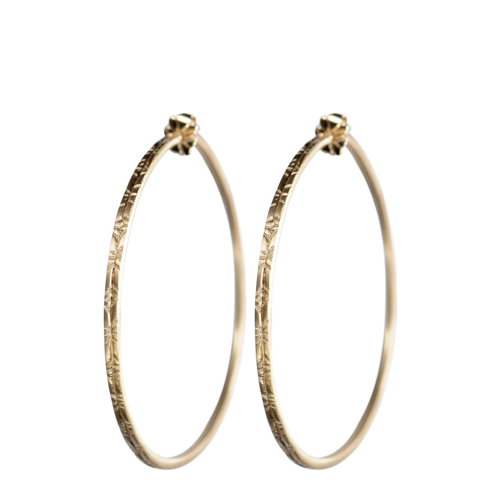 10K Gold Large Engraved Hoop Earrings