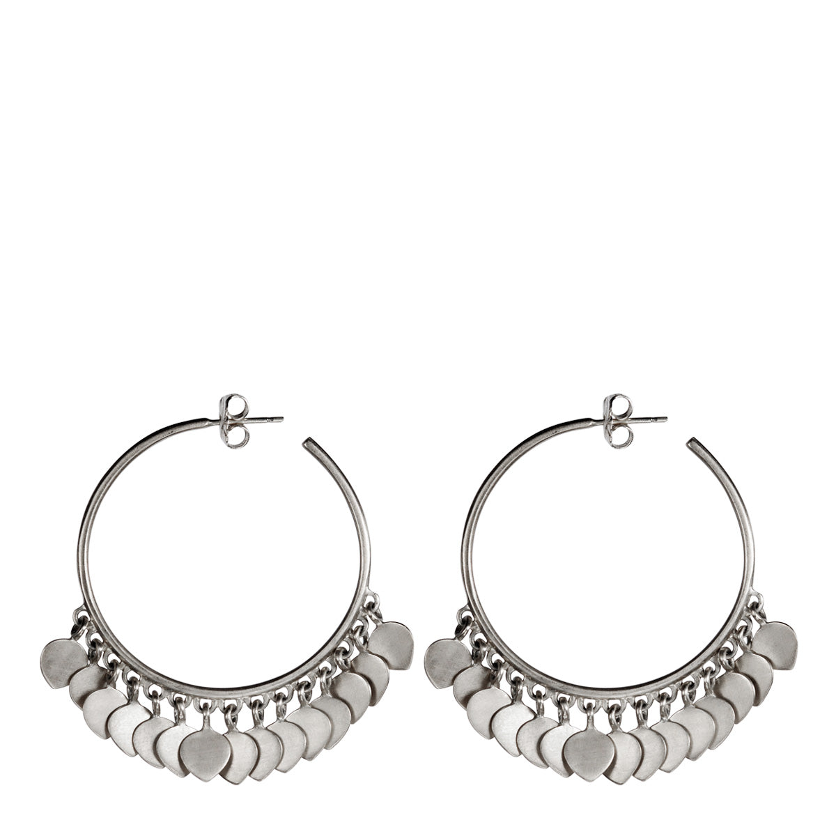 Sterling Silver Medium Hoop Earrings with Lotus Petals