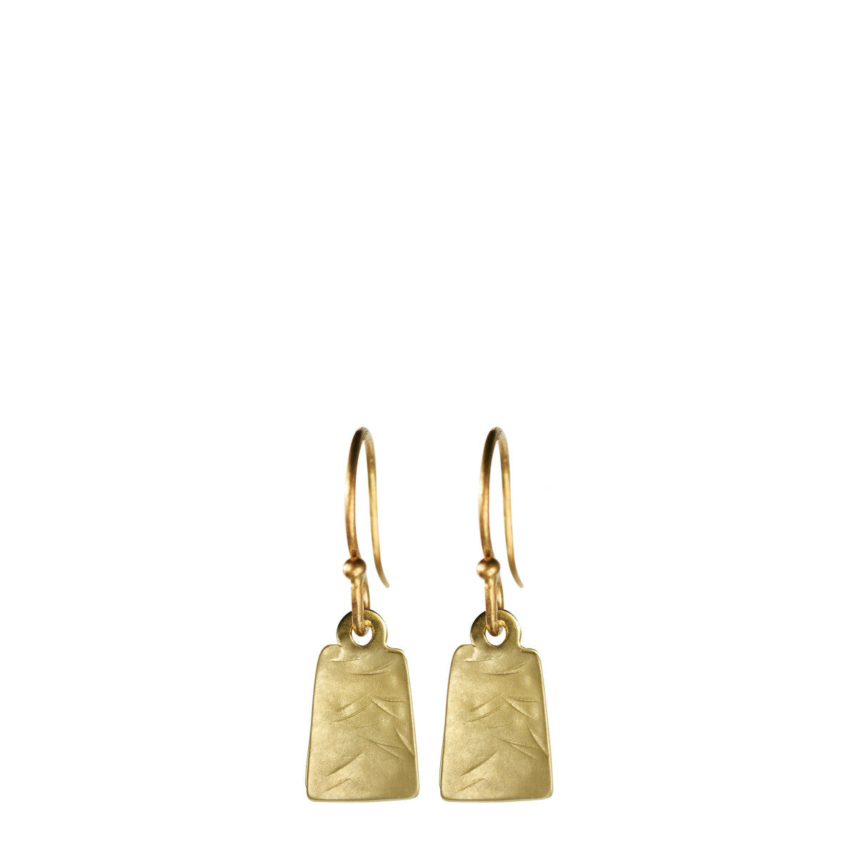 10K Gold Flattened Square Earrings