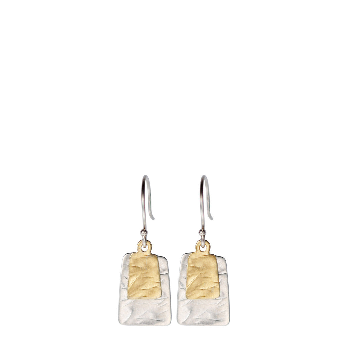 Sterling Silver & 10K Gold Flattened Double Square Earrings