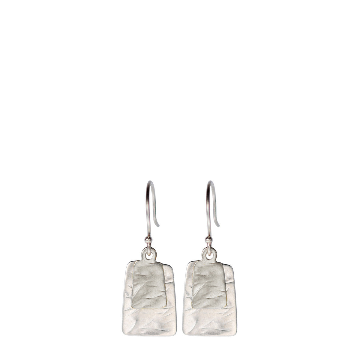 Sterling Silver Flattened Double Square Earrings