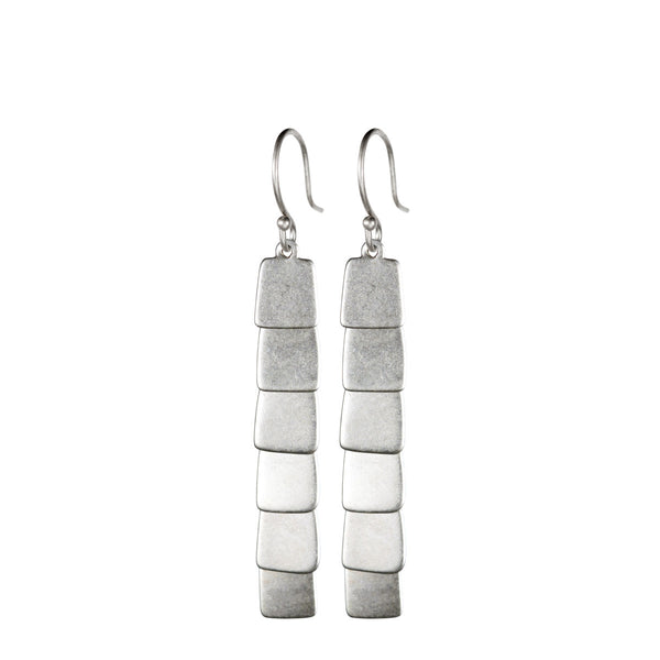 Sterling Silver Layered Flattened Earrings