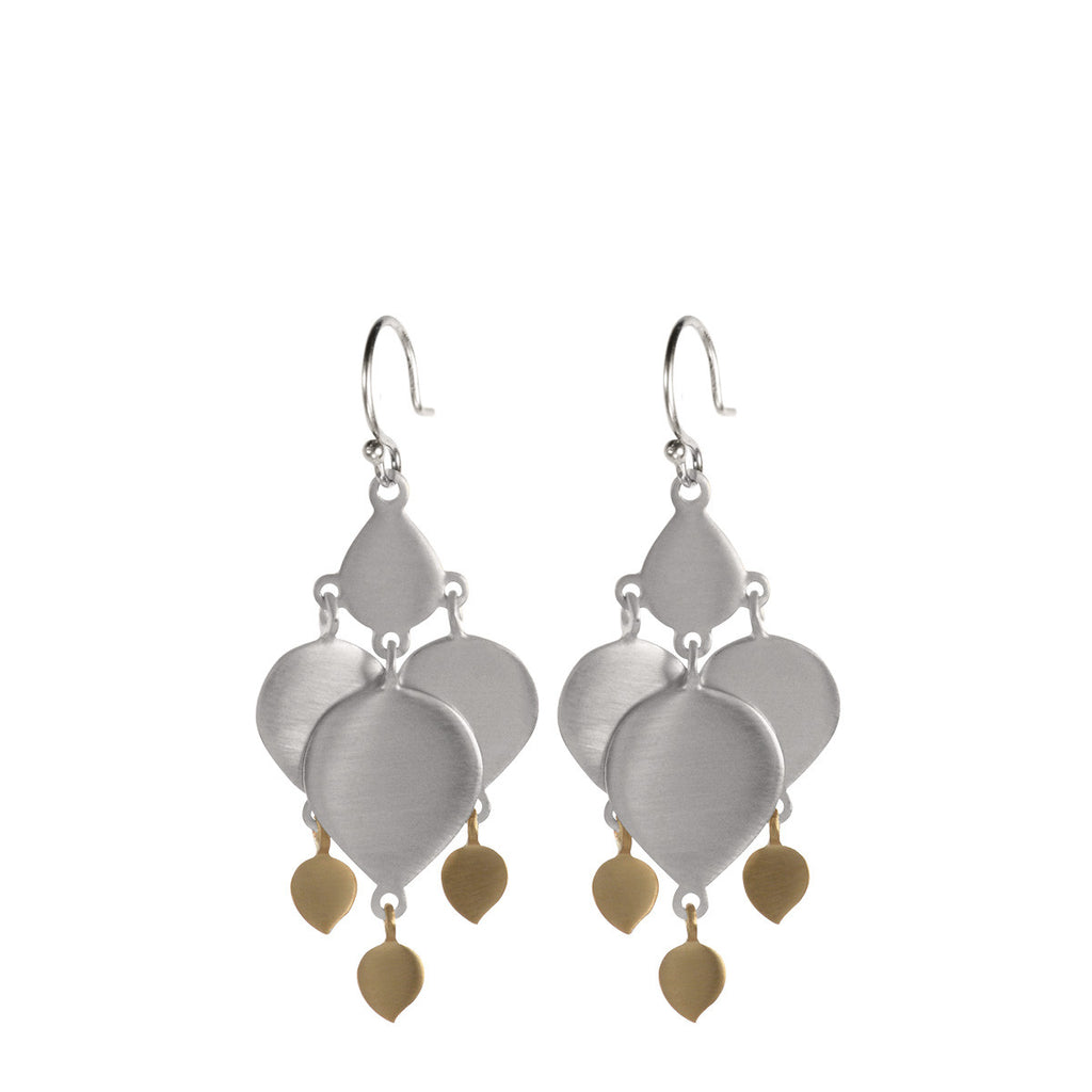 Sterling Silver & 10K Gold Full Lotus Earrings with Lotus Drops