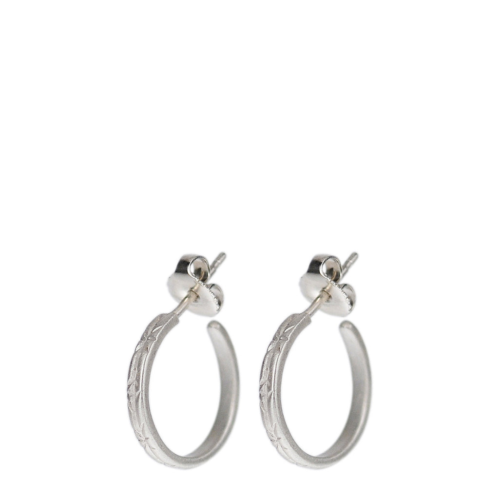 Sterling Silver Small Engraved Hoop Earrings