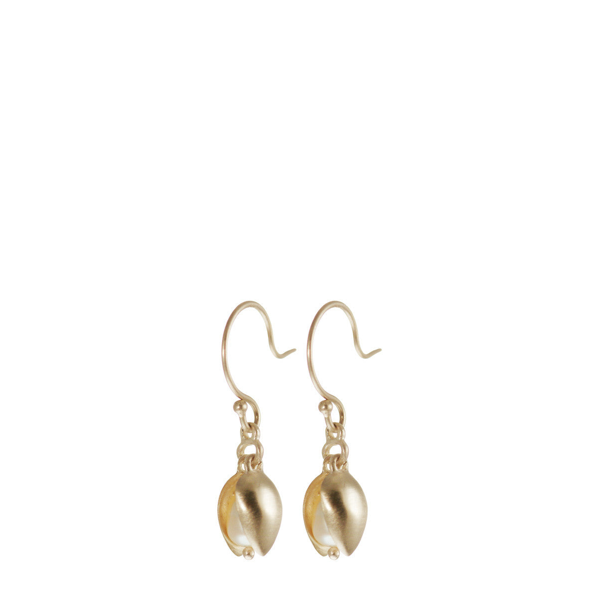 10K Gold Small Double Pod Earrings with Pearls