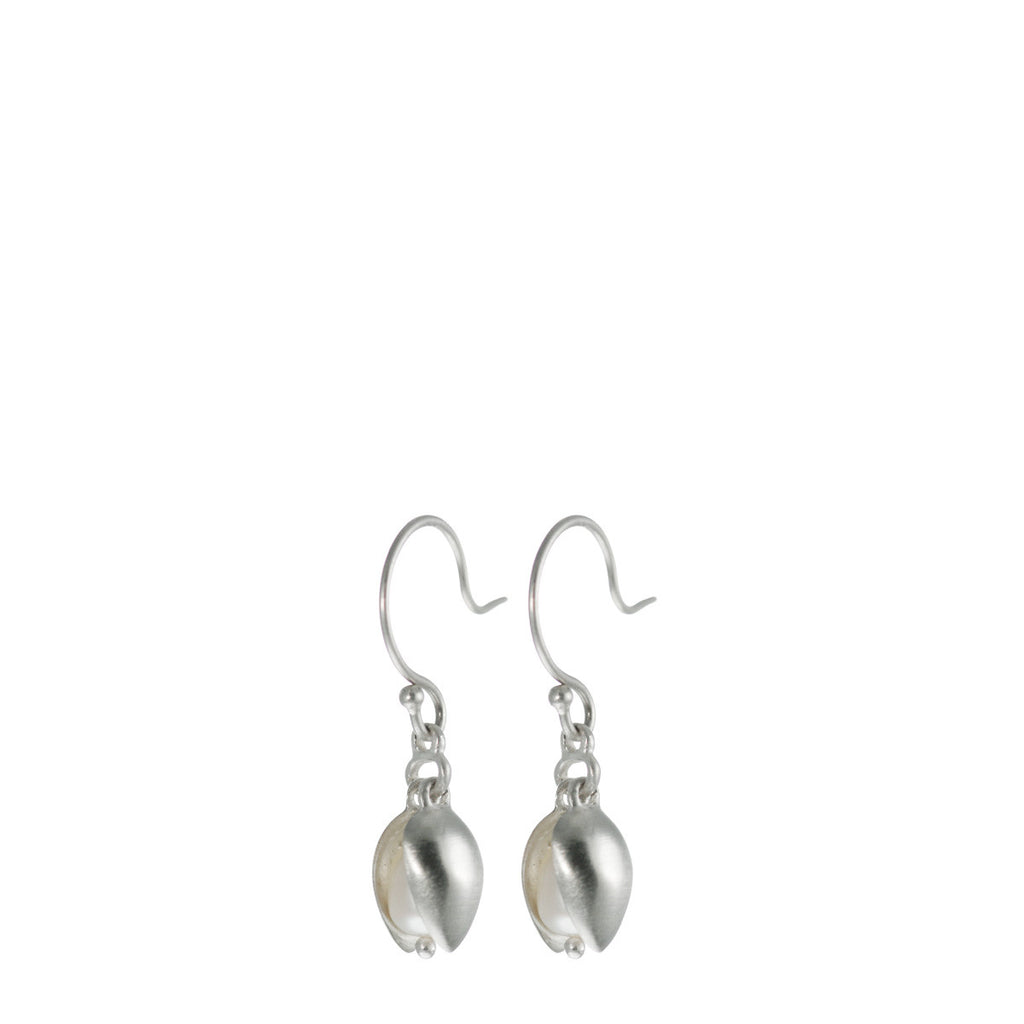 Sterling Silver Small Double Pod Earring with Pearl