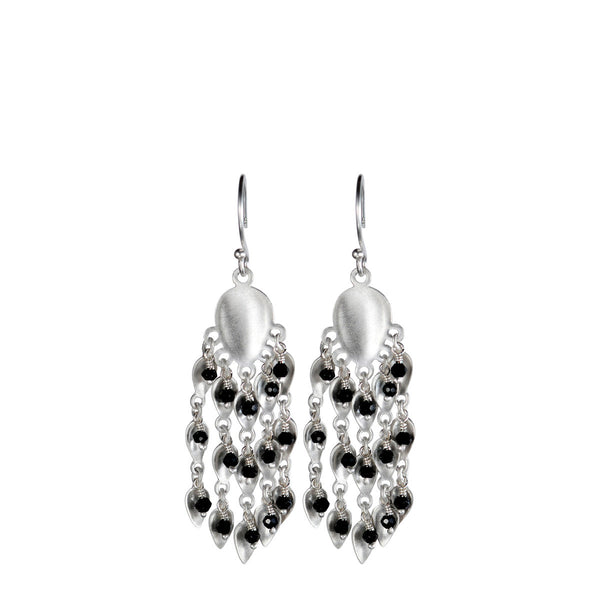 Sterling Silver Long Bindhi Earring with Black Spinel