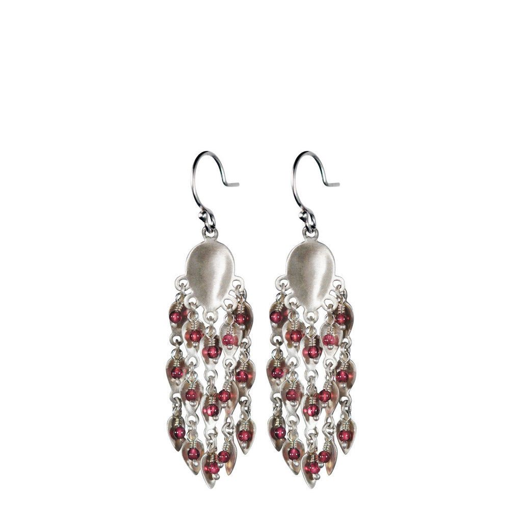 Sterling Silver Long Bindhi Earring with Garnet