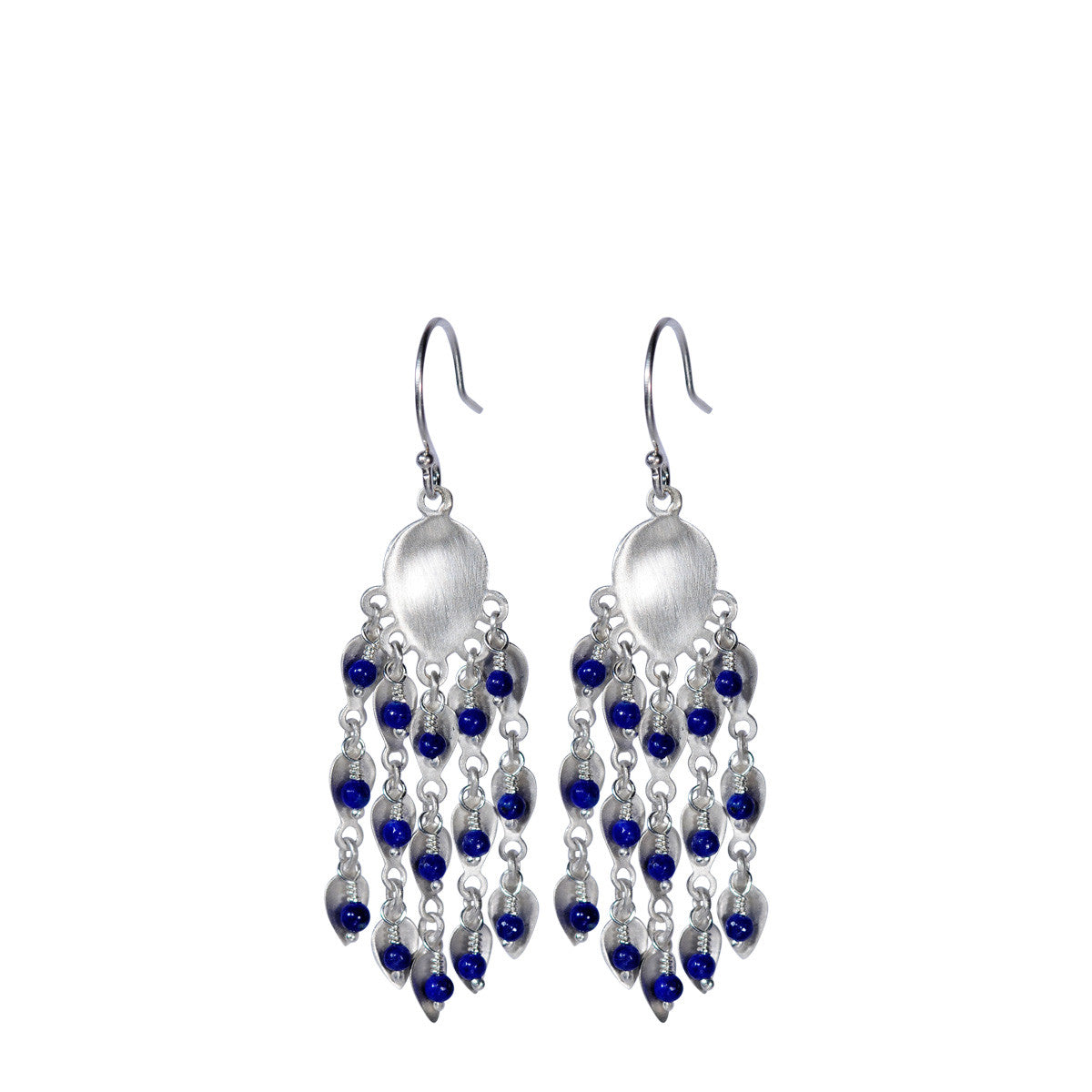 Sterling Silver Long Bindhi Earring with Lapis