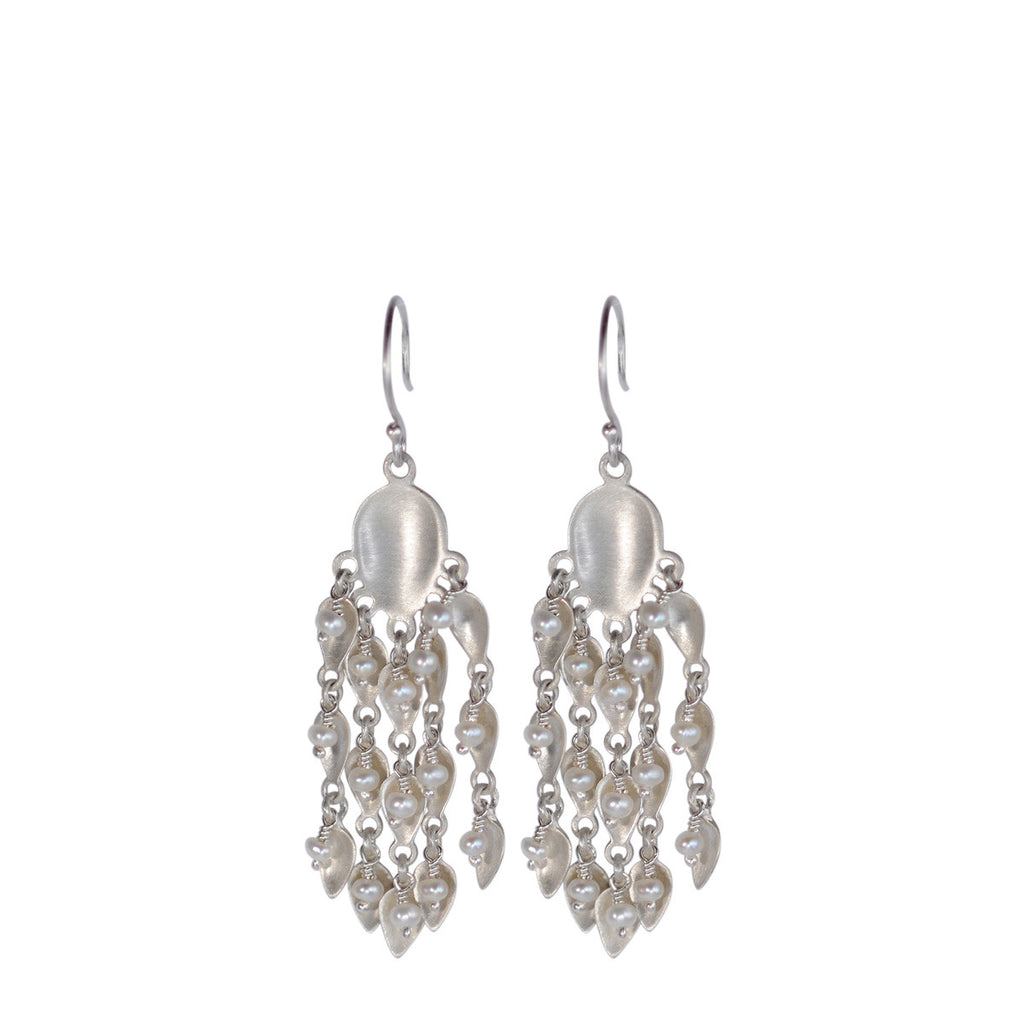 Sterling Silver Long Bindhi Earring with Pearl