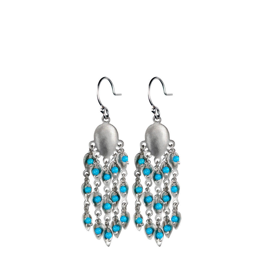 Sterling Silver Long Bindhi Earring with Turquoise