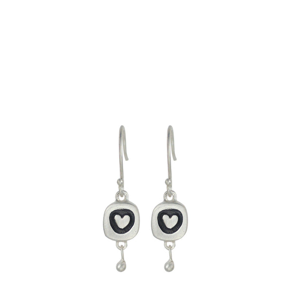 Sterling Silver Set Heart Earrings with Ball Bead