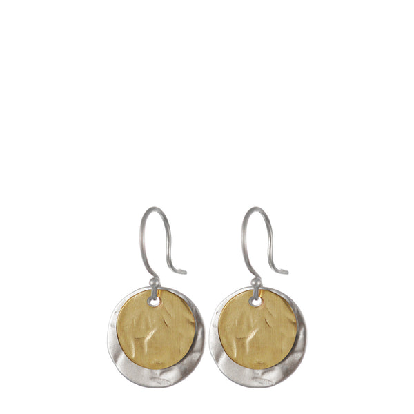 Sterling Silver & 10K Gold Double Drop Sequin Earring