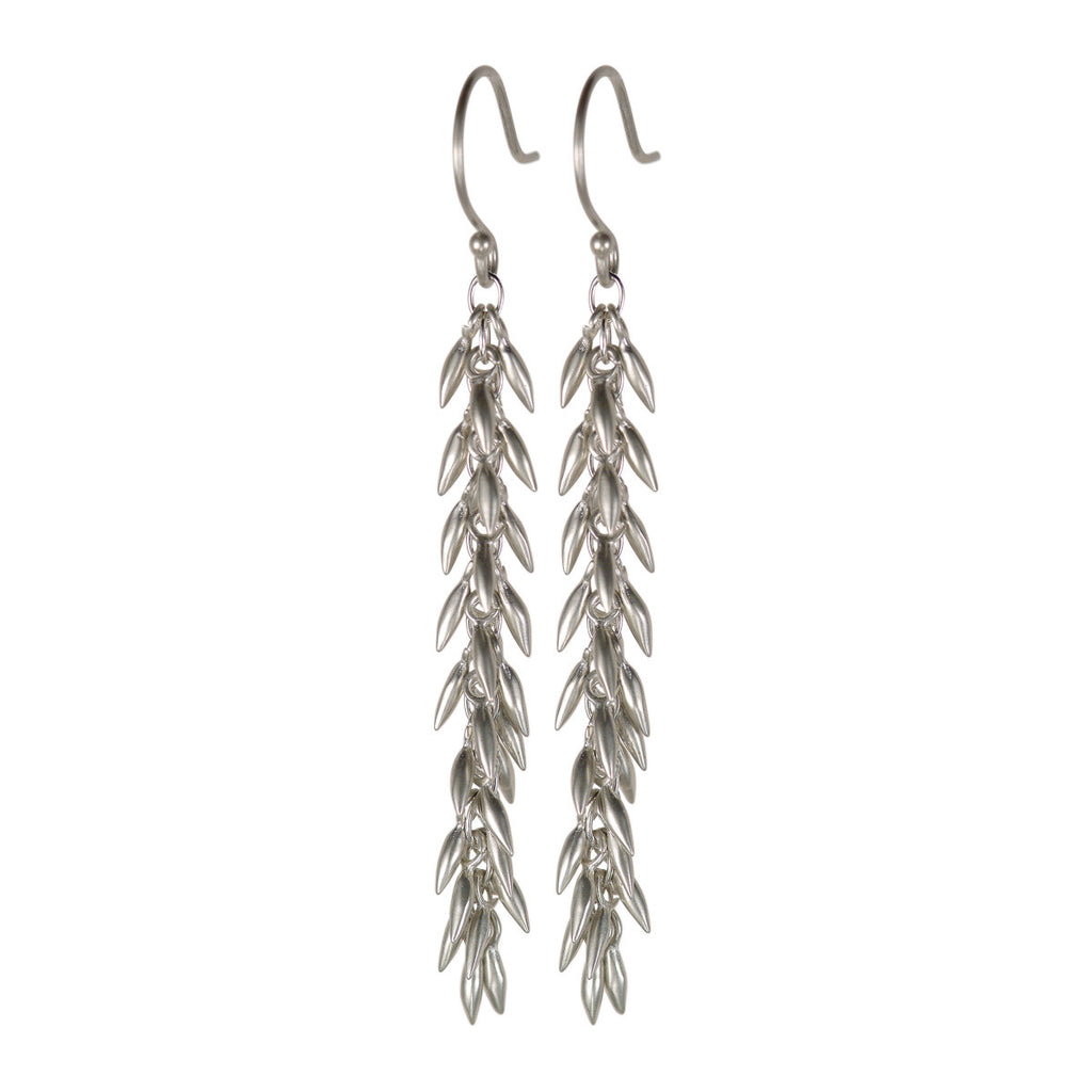 Sterling Silver Long Rice Cluster Earring