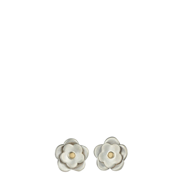 Sterling Silver & 10K Gold Small Double Flower Stud Earrings