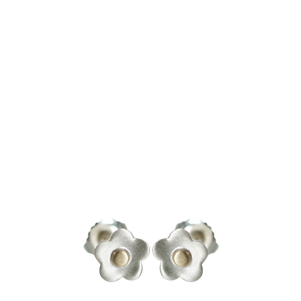Sterling Silver & 10K Gold Small Flower Stud Earrings