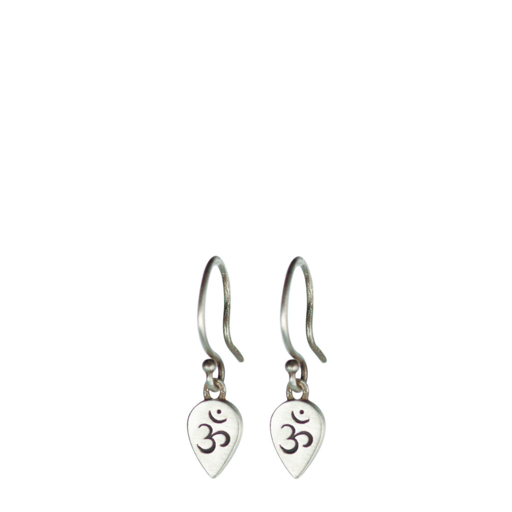 Sterling Silver Om Teardrop Earrings