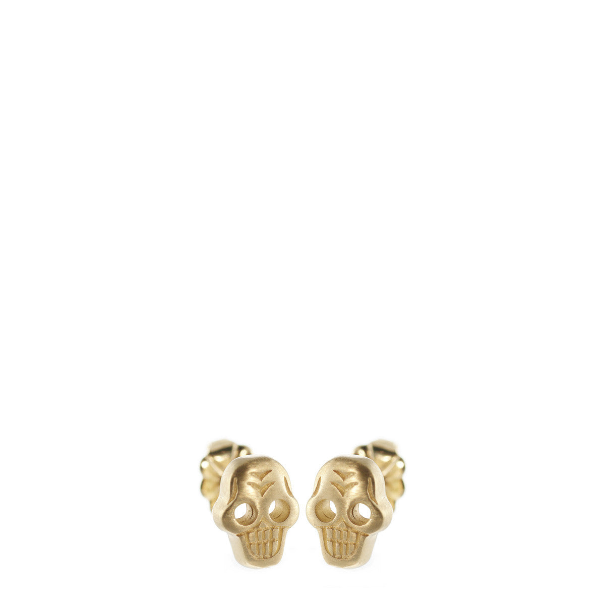 10K Gold Tiny Skull Stud Earrings