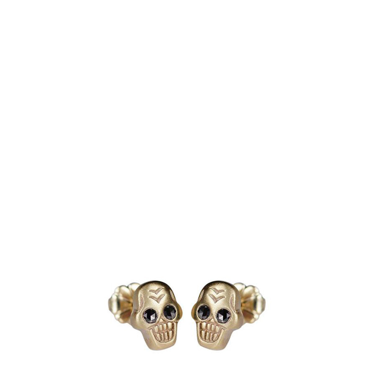 10K Gold Tiny Skull Stud Earrings with Black Diamond Eyes