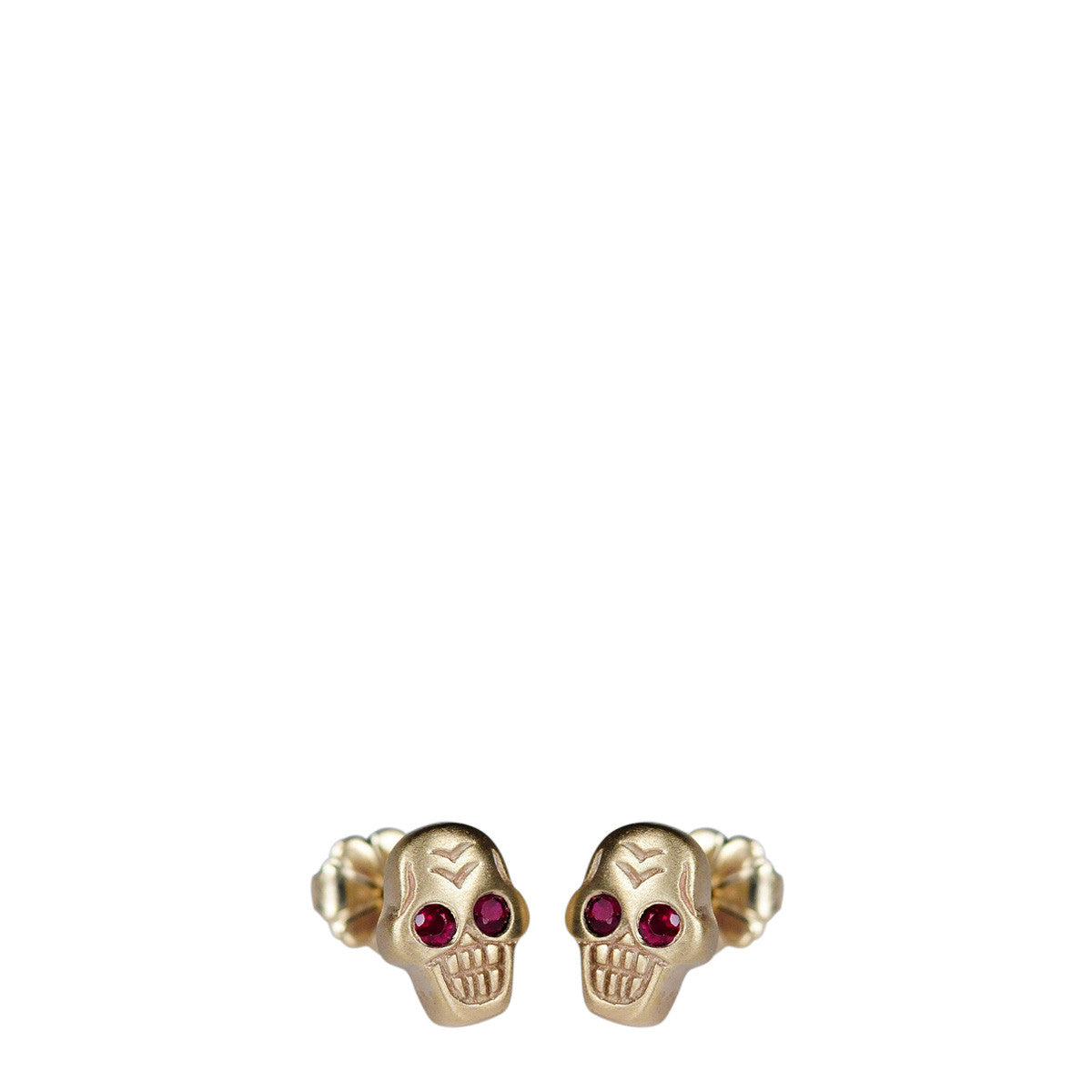 10K Gold Tiny Skull Stud Earrings with Rubies